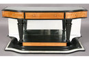 EBONIZED CONSOLE WITH INSET MIRRORED TOP BRASS INLAY