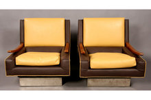 PAIR OF MODERN LOUNGE CHAIRS WOOD ARMS METAL BASES