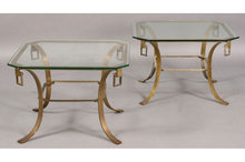 PAIR MID CENTURY MODERN BRASS SIDE TABLES INSET GLASS