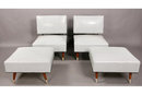 PAIR OF UPHOLSTERED MODERN SLIPPER CHAIRS WITH OTTOMANS