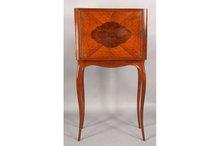 INLAID STANDING FALL FRONT BAR CABINET CABRIOLE