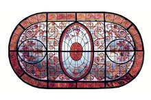 BEAUTIFUL LARGE HAND PAINTED STAINED GLASS OVAL CEILING