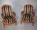 PAIR FRENCH LOUIS XVI UPHOLSTERED LOUNGE CHAIRS J4239