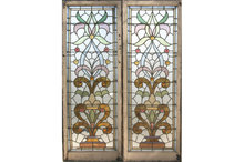 GREAT PAIR ANTIQUE STAINED GLASS WINDOWS **CIRCA 1915**