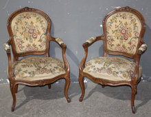 PAIR (2) FRENCH LOUIS XV OPEN ARM CHAIRS CARVED J6664