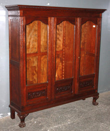 OAK CHIPPENDALE BOOKCASE BALL & CLAW FOOT CARVED J6247