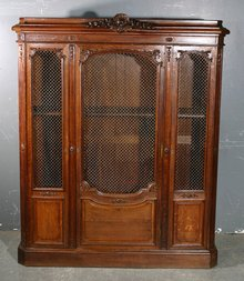 BEST CARVED SOLID OAK 1880S FRENCH BOOKCASE VITRINE