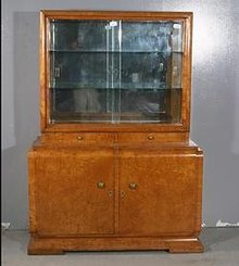 GREAT FRENCH ART DECO SLIDING CHINA CABINET DISPLAY