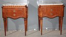 GREAT PAIR FRENCH CARVED MARBLE LOUIS XVI NIGHT STANDS