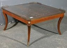 GREAT INLAID BRONZE INLAID WALNUT FRENCH COFFEE TABLE