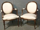 BEST PAIR CLASSIC OVAL BACK FRENCH WALNUT ARM CHAIRS