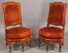 GREAT PR FRENCH LOUIS XV WALNUT PARLOR CHAIRS DOWN FILL