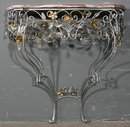 GREAT ITALIAN PAINTED WROUGHT IRON CONSOLE TABLE C1900