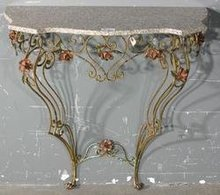 SMALL MARBLE TOP VENETIAN PAINTED IRON CONSOLE TABLE