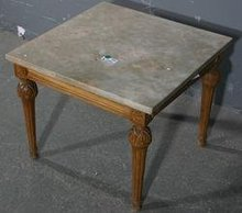 NICE SQUARE MARBLE TOP CARVED WALNUT FRENCH END TABLE