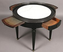 FINE ROUND FRENCH EBONZIED MARBLE TOP COFFEE TABLE