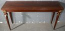 GREAT MAHOGANY BRONZED FOLDING CONSOLE DINING TABLE