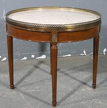 SOPHISTICATED FRENCH WALNUT MARBLE ROUND COFFEE TABLE