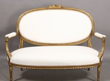BEST FRENCH GILDED CARVED LOUIS XVI SETTEE SOFA C1890