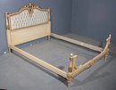 GREAT LEATHER PAINTED GILDED TUFTED FULL SIZE BED