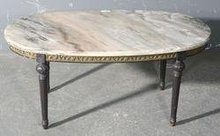 SUPERB FRENCH PAINTED BRONZE ORMOLU MARBLE COFFEE TABLE