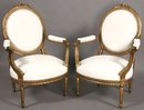 BEST PAIR FRENCH CARVED GILDED LOUIS XVI ARM CHAIRS
