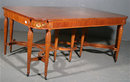 RARE ENGLISH CARVED SATINWOOD DINING TABLE W 2 LEAVES