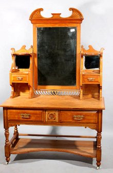 GREAT DRAMATIC CARVED FRENCH VICTORIAN DRESSING VANITY