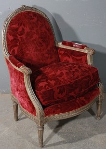 BEST CARVED PAINTED FRENCH BERGERE CLUB CHAIR C1920