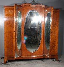 RARE CHEVAL FRENCH SATINWOOD INLAID ARMOIRE CLOSET