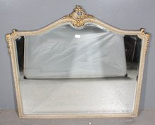 SUPERB FRENCH CREME PAINT GILDED BEVELED GLASS MIRROR