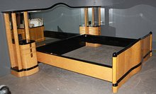 RARE KING SIZE FRENCH ART DECO BIRDS EYE MAPLE BED