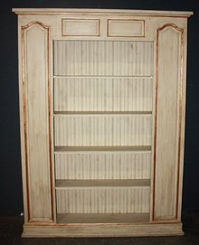MAGNIFICENT FRENCH PAINTED RAISED PANEL BOOKCASE SHELF