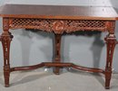 GREAT CARVED WALNUT FRENCH FIGURAL CONSOLE TABLE
