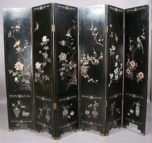LARGE 6 PANEL CHINOISERIE CHINESE DRESSING SCREEN