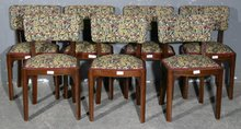 NICE SET 8 FRENCH ART DECO MAHOGANY DINING CHAIRS 1920S