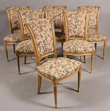 BEST 10 FRENCH CARVED CREME PAINTED TULIP BACK CHAIRS