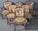 RARE 6 FRENCH WALNUT LOUIS TAPESTRY CHAIRS W ARMS C1900