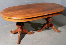 GREAT CARVED WALNUT ITALIAN DINING CONFERENCE TABLE