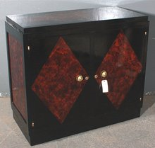 FINE FRENCH ART DECO 2 DR CABINET W FAUX TORTOISE SHELL