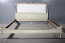 GREAT FRENCH GREY PAINTED QUEEN SIZE UPHOLSTERED BED