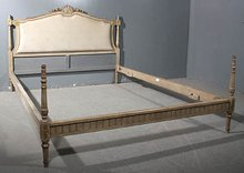 GREAT CREME PAINTED FULL QUEEN SIZE FRENCH BED C1930