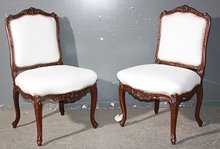BEST PAIR FRENCH CARVED WALNUT SIDE DINING CHAIRS