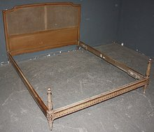 GREAT CARVED CANE FRENCH LOUIS XVI FULL SIZE BED C1930