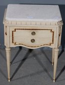 GREAT SINGLE FRENCH CREME PAINTED NIGHT STAND END TABLE