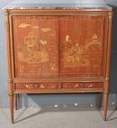 BEST INLAID WALNUT CHINOISERIE BAR LIQUOR TV CABINET