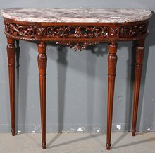 RARE SMALL SIZE FRENCH CARVED WALNUT CONSOLE TABLE
