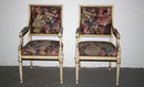 PAIR ANTIQUE FRENCH LOUIS XVI PAINTED ARM CHAIRS A395
