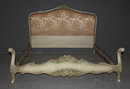 PAINTED FRENCH LOUIS XV QUEEN BED UPHOLSTERED A407