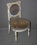 PAINTED FRENCH LOUIS XVI BOUDOIR SLIPPER CHAIR GILT